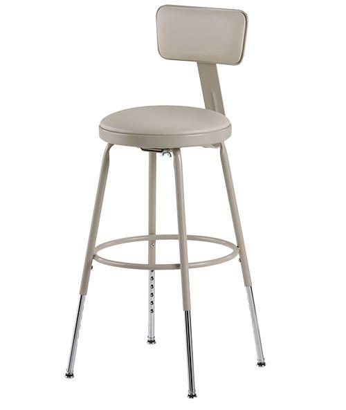 """Krueger Upholstered Seat Stool, Adjustable-leg w/Backrest, 19-27""""H"""