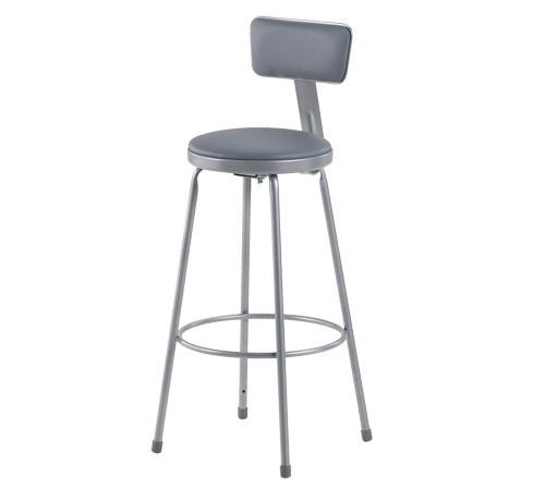 """Krueger Upholstered Seat Stool, Adjustable-leg w/Backrest, 31-39""""H"""