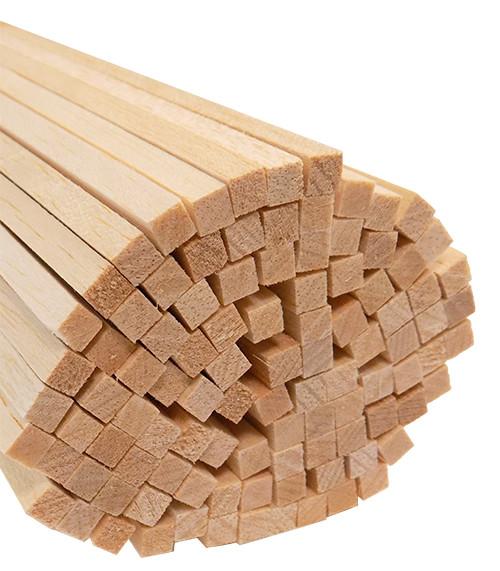 "Bud Nosen Balsa Wood Strips, 1/4"" x 1/4"" x 24"", 100/pkg."