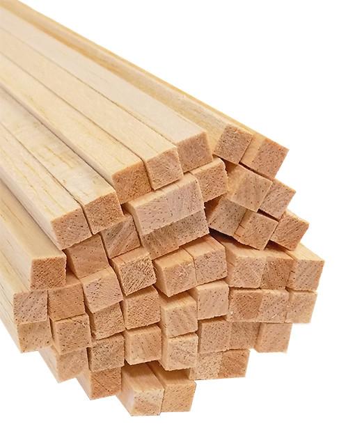 "Bud Nosen Balsa Wood Strips, 1/4"" x 1/4"" x 36"", 50/pkg."