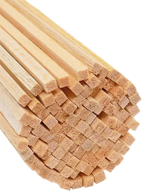"Bud Nosen Balsa Wood Strips, 1/8"" x 1/8"" x 24"", 100/pkg."