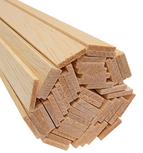 "Bud Nosen Balsa Wood Strips, 1/8"" x 3/4"" x 36"", 50/pkg."
