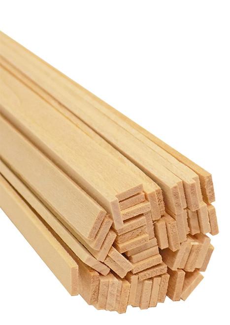 "Bud Nosen Basswood Strips, 1/16"" x 1/4"" x 24"", 50/pkg."