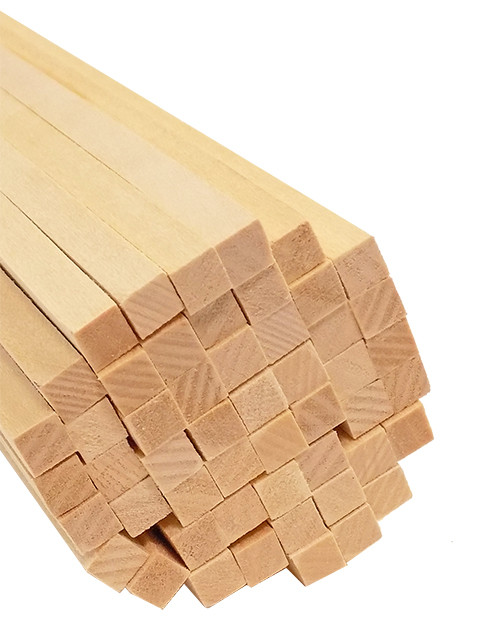 "Bud Nosen Basswood Strips, 1/4"" x 1/4"" x 24"", 50/pkg."