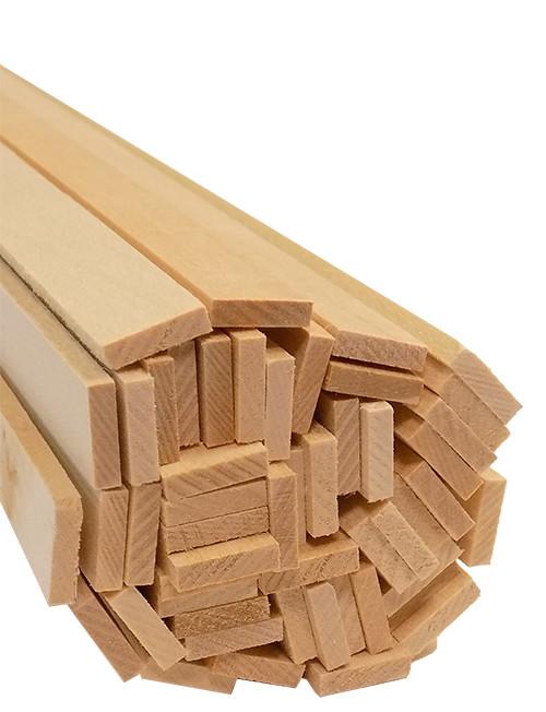 "Bud Nosen Basswood Strips, 1/8"" x 1/2"" x 24"", 50/pkg."