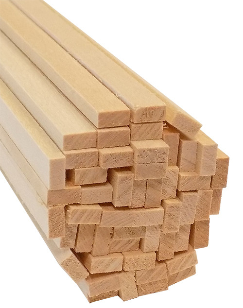 "Bud Nosen Basswood Strips, 1/8"" x 1/4"" x 24"", 50/pkg."