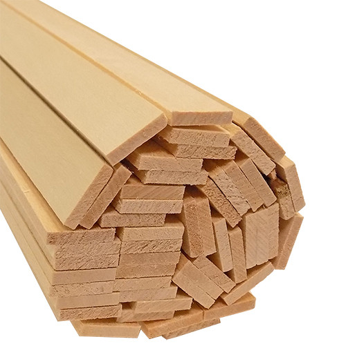 "Bud Nosen Basswood Strips, 1/8"" x 5/8"" x 24"", 50/pkg."