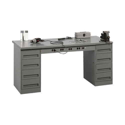 Tennsco Electronic Modular Work Bench, Steel Top w/2 4-drawer units & outlet panel