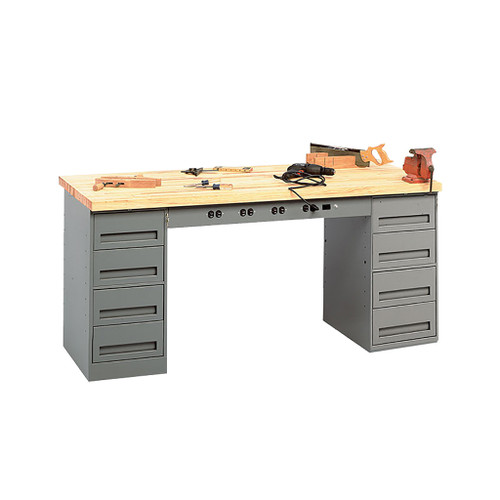 Tennsco Electronic Modular Work Bench, Maple Top w/2 4-drawer units & outlet panel