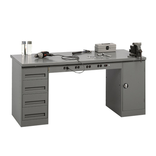 Tennsco Electronic Modular Work Bench, Steel Top w/1 4-drawer unit, 1 shelf cabinet & outlet panel