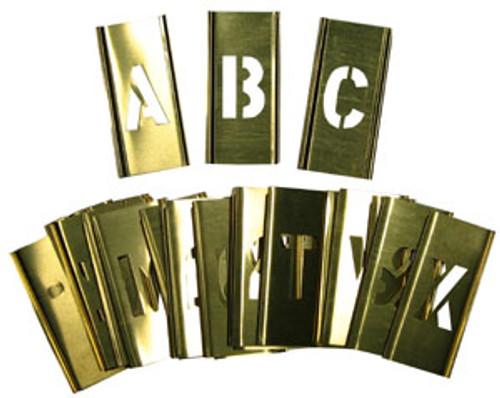 """Young Bros. Brass Interlocking Stencils 33-Piece Letter Set, 1"""""""