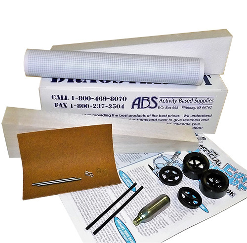 ABS CO2 Dragster Individual Kit, Basswood with 1 Styrofoam Blank