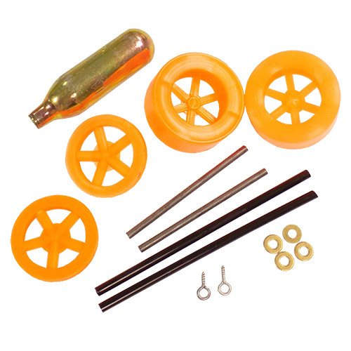 ABS Dragster Wheel Kit with CO2 Cartridge, Orange