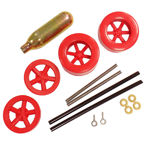 ABS Dragster Wheel Kit with CO2 Cartridge, Red