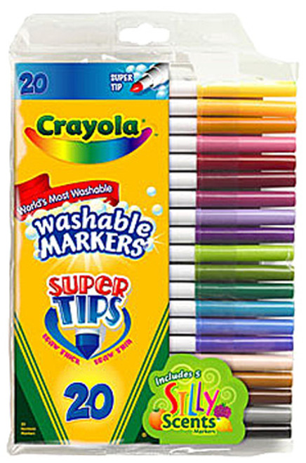 Crayola Washable Super Tips Markers with Silly Scents 20-Piece