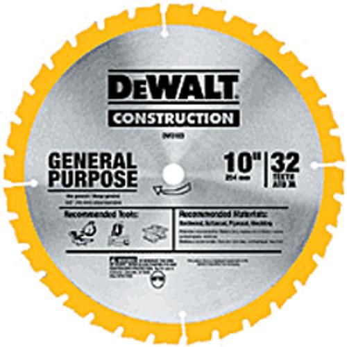 "DeWalt Series 20 Circular Saw Blades General Purpose Combination, 10"" 40T"