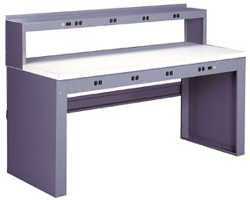 """Tennsco Electronics Work Bench w/stringer & outlet panel, 6'W x 30""""D x 33-1/2""""H, Steel Top"""