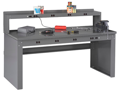 """Tennsco Electronics Work Bench w/stringer, outlet panel & electronic riser, 6'W x 30""""D x 33-1/2""""H, Steel Top"""