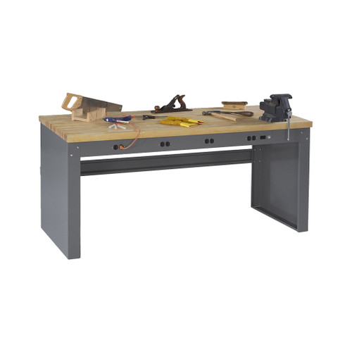 "Tennsco Electronics Work Bench w/stringer & outlet panel, 6'W x 36""D x 33-3/4""H, Maple Laminate Top"