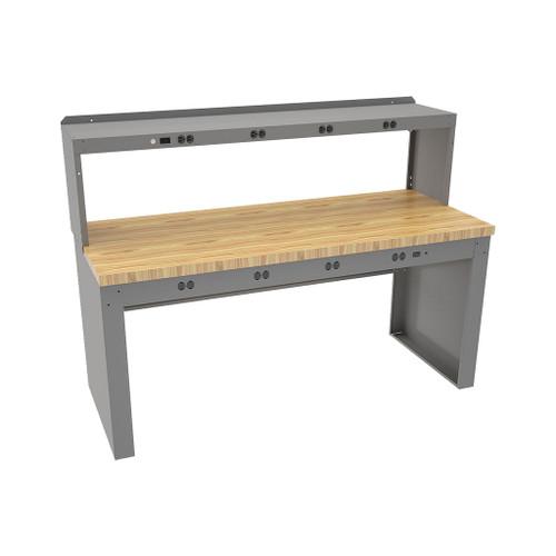 "Tennsco Electronics Work Bench w/stringer, outlet panel & electronic riser, 6'W x 36""D x 33-3/4""H, Maple Laminate Top"