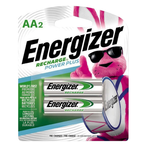 Energizer Rechargeable Ni-Mh Batteries, AA, 2/pkg.