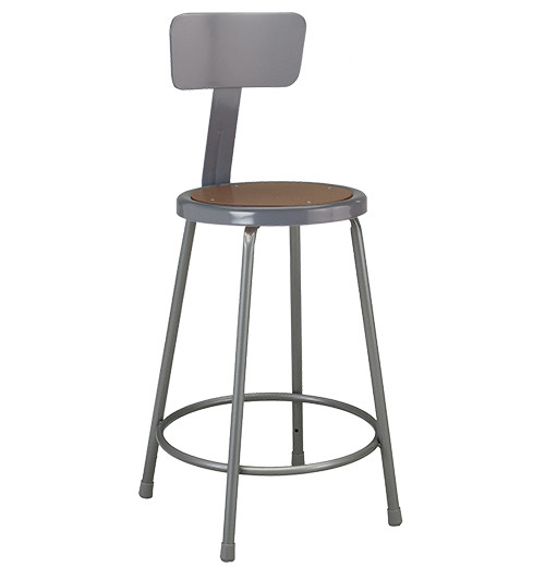 """Krueger Industrial Masonite Seat Stool with Backrest, Fixed-Height, 24"""""""