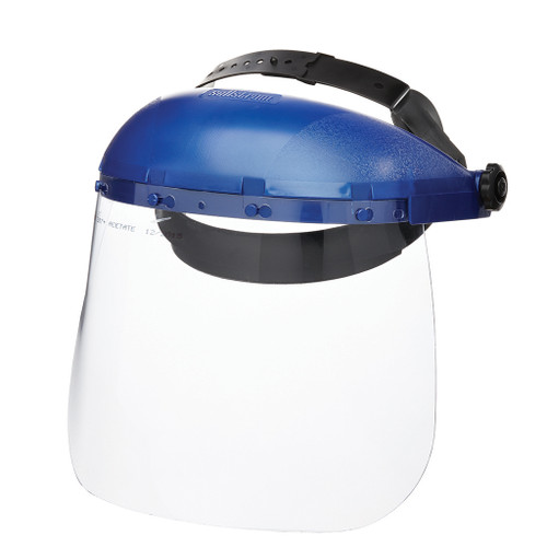 Sellstrom 390 Series Face Shield, Single Crown Ratcheting Headgear with Sta-Clear Anti-Fog Window