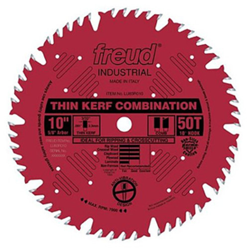 "Freud Industrial-coated Thin Kerf Combination Circular Saw Blade 10"" x 50T"