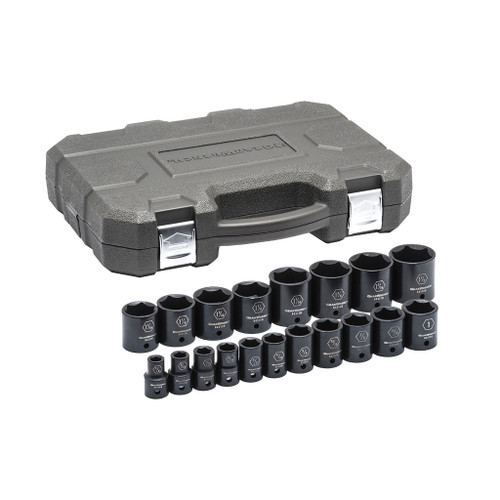 """GearWrench 1/2"""" Drive 6-Point Standard Impact SAE Sockets, 19-piece Set"""