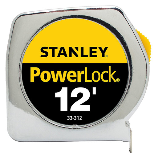 Stanley PowerLock Tape Measure, 12 ft x 3/4 in