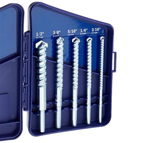 """Irwin Masonry Drill Bit 5-Piece Set, 3/16"""" -  1/2"""""""
