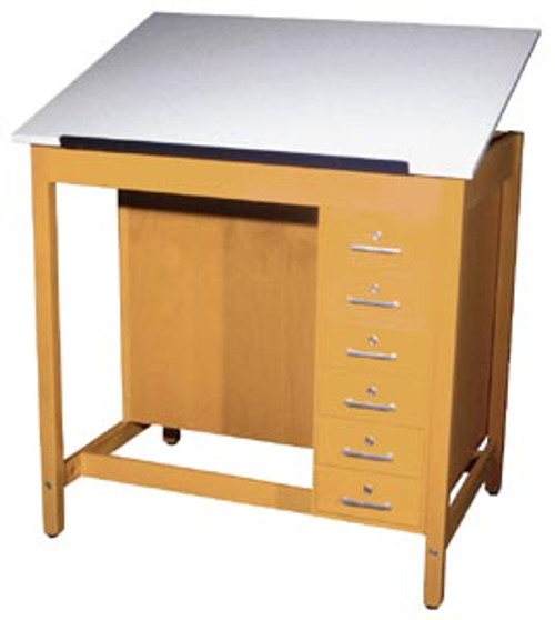 Diversified Woodcrafts 1-Piece Adjustable Drawing Table w/Drawers