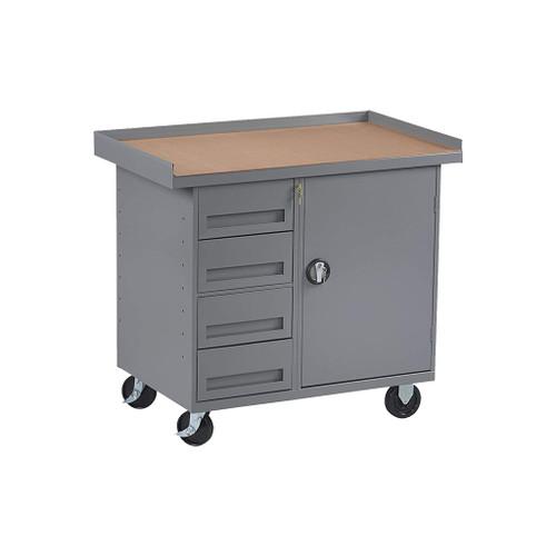 Tennsco Locking Mobile Cabinet, 4 Drawers