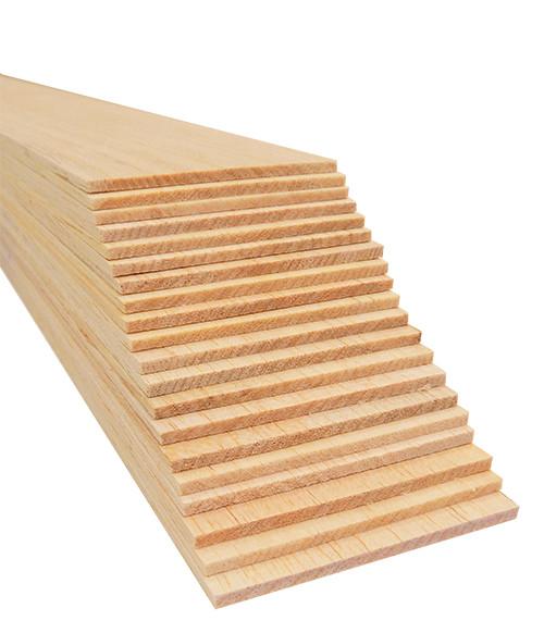 """Bud Nosen Balsa Wood Sheets,  1/8"""" x 3"""" x 36"""", 20/pkg."""