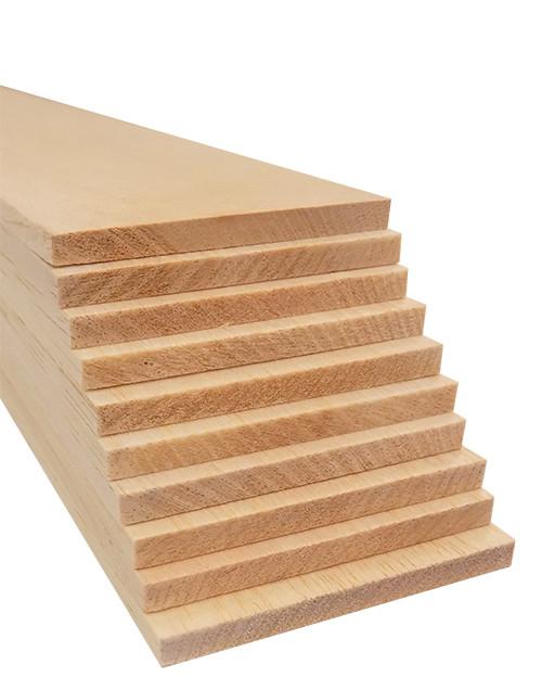 """Bud Nosen Balsa Wood Sheets,  1/4"""" x 3"""" x 36"""", 10/pkg."""