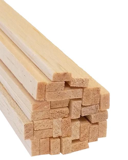 "Bud Nosen Balsa Wood Strips, 1/8"" x 1/4"" x 36"", 30/pkg."