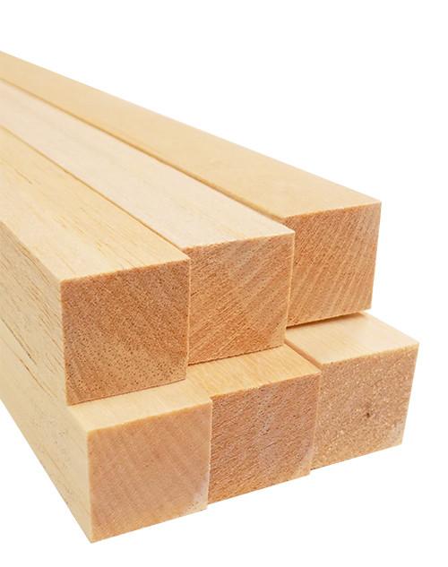 "Bud Nosen Balsa Wood Strips, 1"" x 1"" x 36"", 6/pkg."
