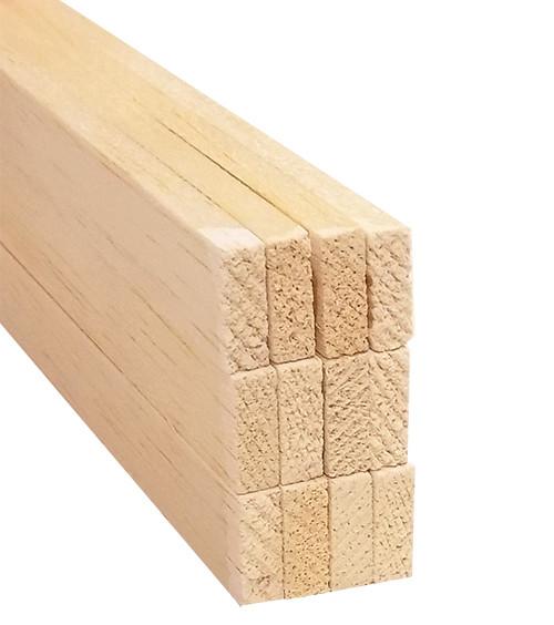 "Bud Nosen Balsa Wood Strips, 3/16"" x 1/2"" x 36"", 12/pkg."