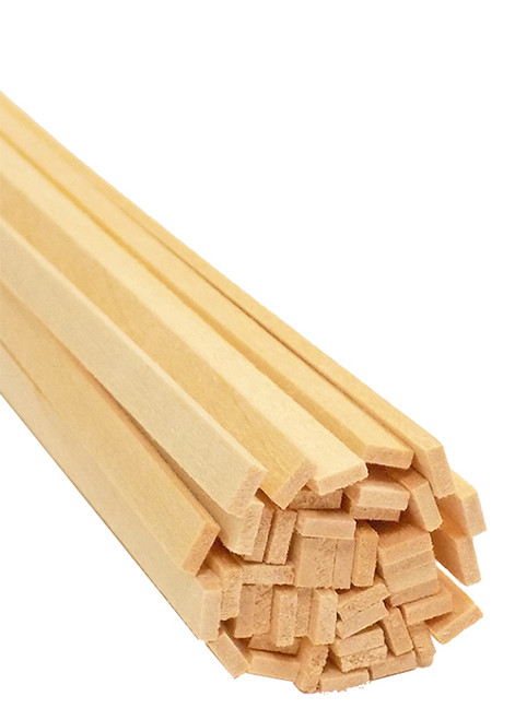 "Bud Nosen Basswood Strips, 1/16"" x 3/16"" x 24"", 45/pkg."