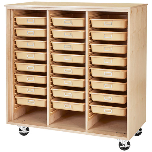Diversified Woodcrafts Mobile 24-Tote Tray Cabinet