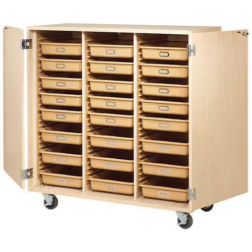 Diversified Woodcrafts Mobile 24-Tote Tray Cabinet with Locking Doors