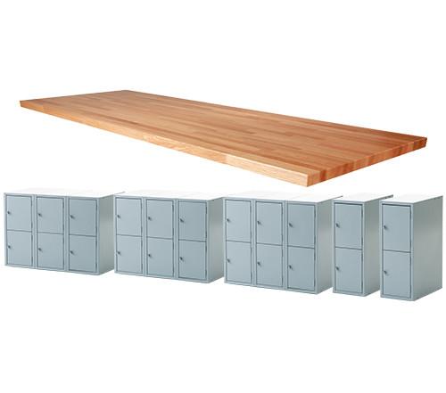 "Midwest 22 Locker Work Bench, 144""L x 1-3/4""T"