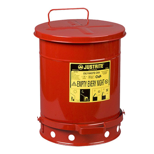 Justrite Oily Waste Can, 10 Gal.