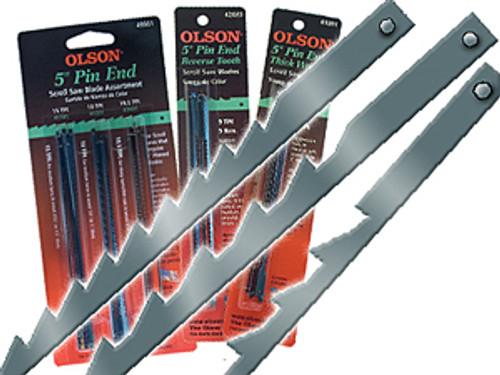 "Olson Regular, Reverse & Skip Tooth Pin End Scroll Saw Blades, 5"",18-Piece Assortment"