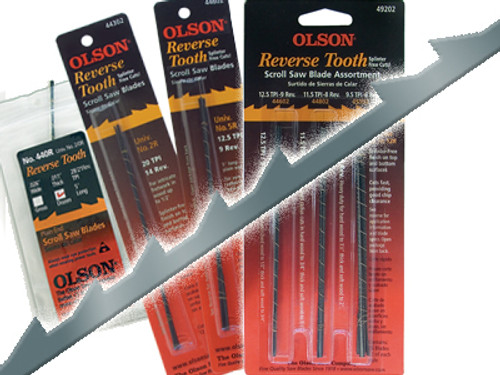 """Olson Reverse Tooth Pin End Scroll Saw Blades, 5"""", 9/5 TPI, 144/Pkg."""