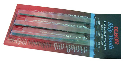Olson Skip Tooth Plain End Scroll Saw Blades, 36-Piece Set