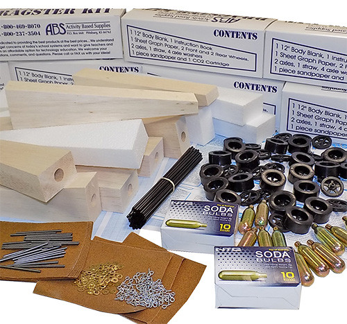 ABS CO2 Dragster 50 Kit Class Pack, Balsa Wood with 50 Storage Boxes