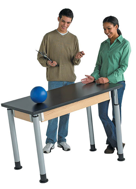 """Diversified Woodcrafts Adjustable Height 2-Student Science Table, ChemGuard Top, 60""""W x 30""""D"""