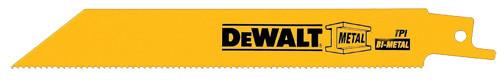 "DeWalt Straight Back Bi-Metal Reciprocating Blade, 6"" 18 TPI"