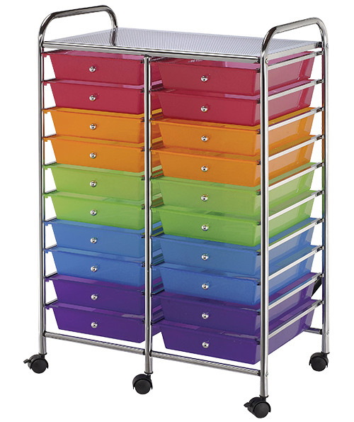 Alvin Storage Cart, 20-Drawer Multi-Colored